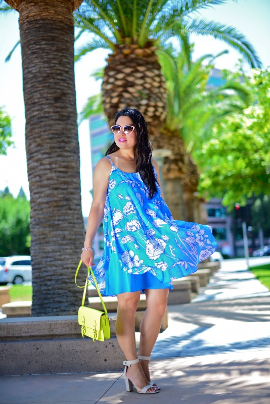 Alice Olivia Rhi Printed tiered hem tank dress and Tibi ankle strap block heel sandals and Oliver Peoples Annaliesse and Steve Madden crossbody bag neon yellow