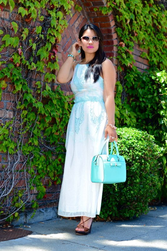 Dolce Vita Rayan white mint embroidery lace maxi dress and Kate Spade Holly Street Ashton giverny blue satchel and DVF wooden wedge tied sandals and Oliver Peoples Annaliesse cat eye sunglasses
