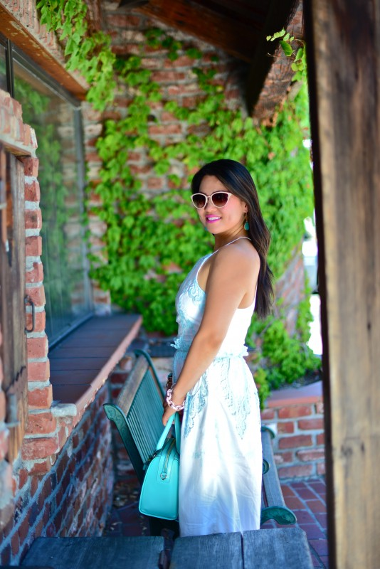 Dolce Vita Rayan white mint maxi dress and Kate Spade Holly Street Ashton giverny blue satchel and Oliver Peoples Annaliesse cat eye sunglasses