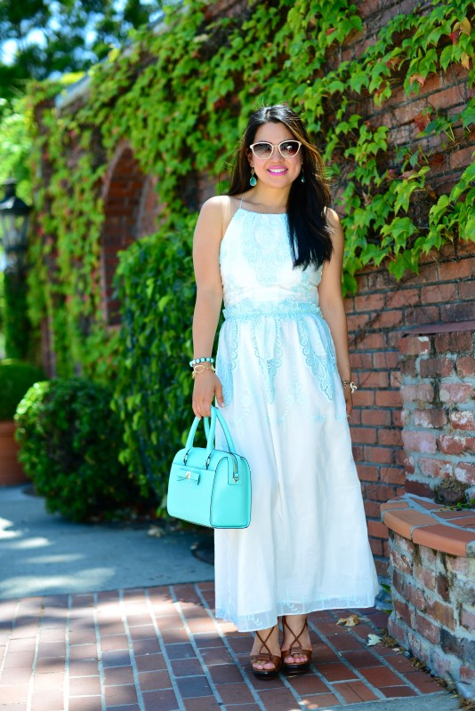 Dolce Vita Rayan white mint embroidery lace maxi dress and Kate Spade Holly Street Ashton giverny blue and DVF wooden wedge tied sandals and Oliver Peoples Annaliesse cat eye sunglasses