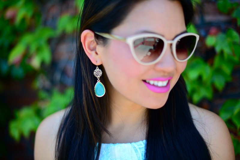 Oliver Peoples Annaliesse cat eye sunglasses and turquoise mint drop earrings and MAC lip pencil shock value