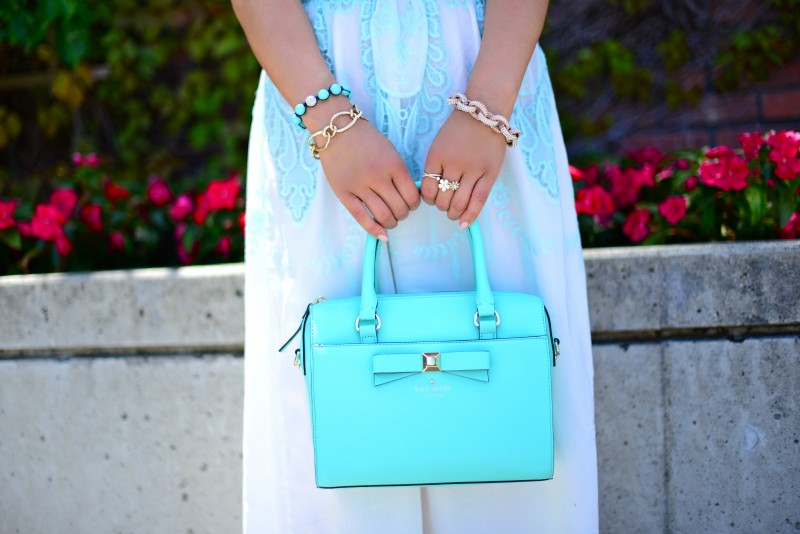Kate Spade Holly Street Ashton giverny blue satchel and Dolce Vita Rayan white mint petticoat embroidery maxi dress