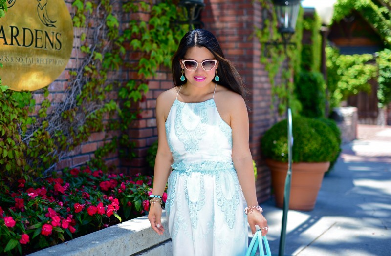 Dolce Vita Rayan white mint maxi dress and Kate Spade Holly Street Ashton giverny blue and Oliver Peoples Annaliesse cat eye sunglasses and tear drop mint stone earrings