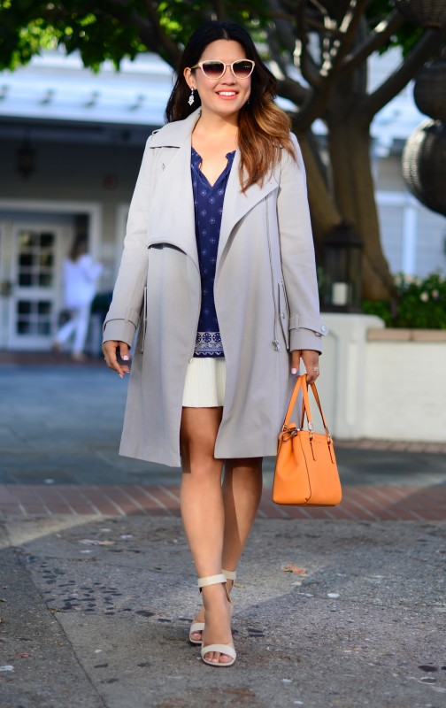 Joie Masha E navy blue border print peasant top and ASOS light grey trench coat and Coach Madison Mini Christie carryall satchel bright mandarin and Oliver Peoples Annaliesse sunglasses ivory and Tibi block heel ankle strap sandal