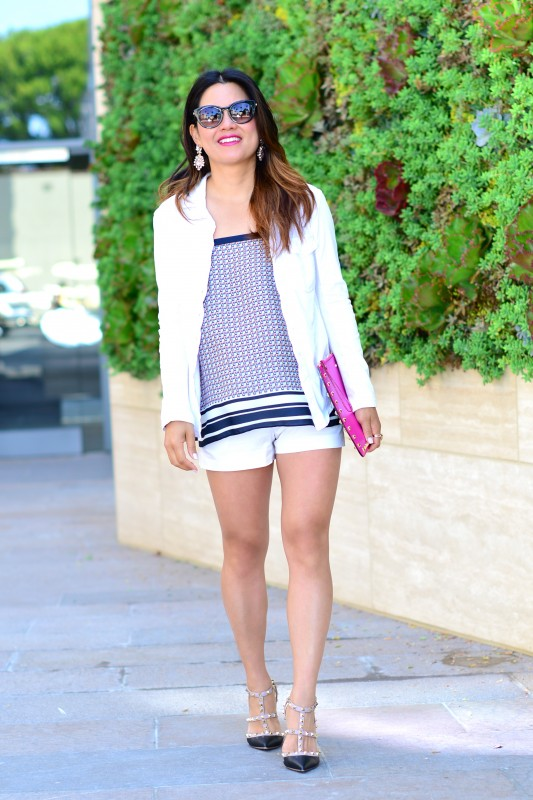 Summer fashion White Shorts and Valentino Rockstud pumps