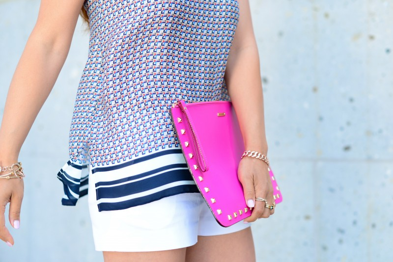Vince border print cami silk top and studded clutch and white shorts