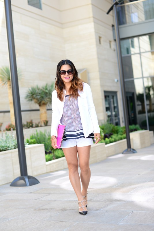 white short summer outfit long wavy ombre hair
