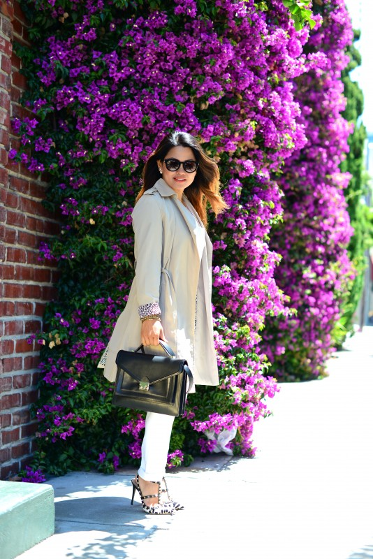 Classic business casual and Beige Trench coat and Paige Skyline Skinny Jeans and Valentino Rockstud leopard heels and Loeffler Randall black rider bag and Thierry Lasry Magnety sunglasses