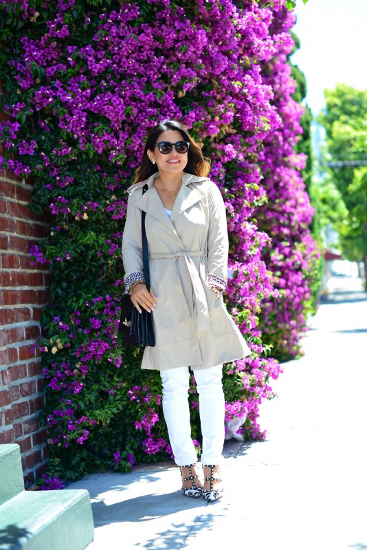 classic outfit and Beige Trench coat and Paige Skyline Skinny Jeans and Valentino Rockstud leopard heels and Loeffler Randall black rider bag and Thierry Lasry Magnety sunglasses