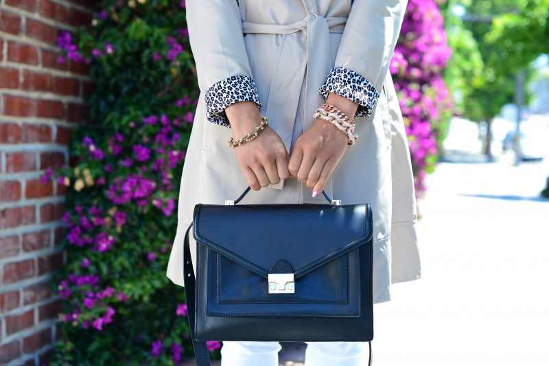 Loeffler Randall Rider bag and beige trench coat with leopard lining