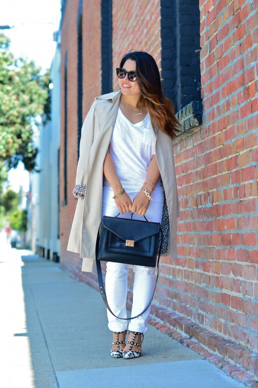 Neutral outfit and Beige Trench coat and Paige Skyline Skinny Jeans and Valentino Rockstud leopard heels and Loeffler Randall black rider bag and Thierry Lasry Magnety sunglasses and James Perse white tee shirt