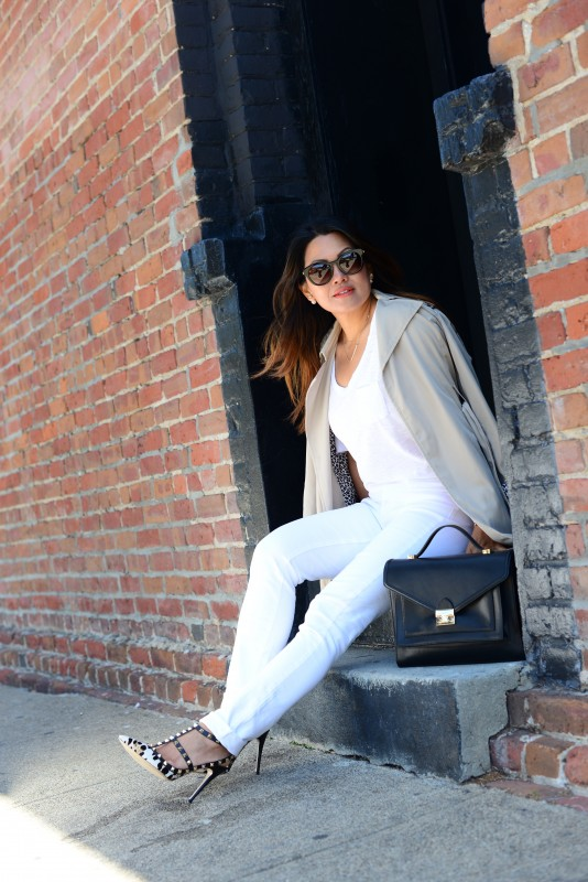 Beige Trench coat and Paige Skyline Skinny Jeans and Valentino Rockstud leopard heels and Loeffler Randall black rider bag and Thierry Lasry Magnety sunglasses and James Perse white tee shirt