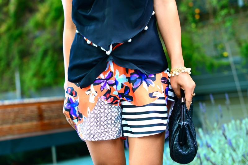 Mixed print colorful Clover Canyon shorts and Marc Jacobs pearl tank