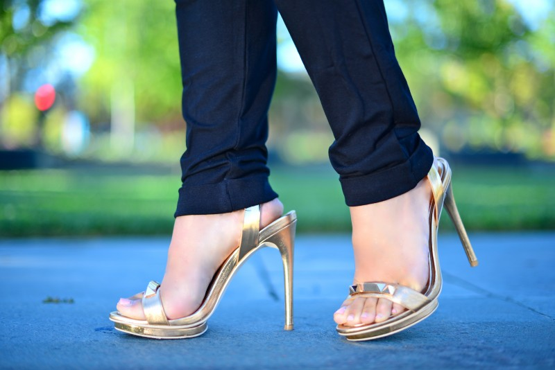 Rose gold metallic summer sandals