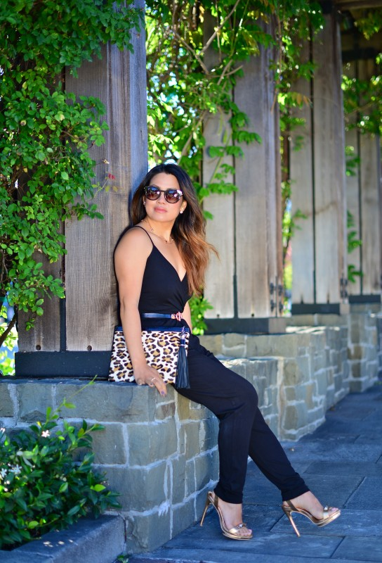 Summer jumpsuit outfit and leopard clutch and metallic heels