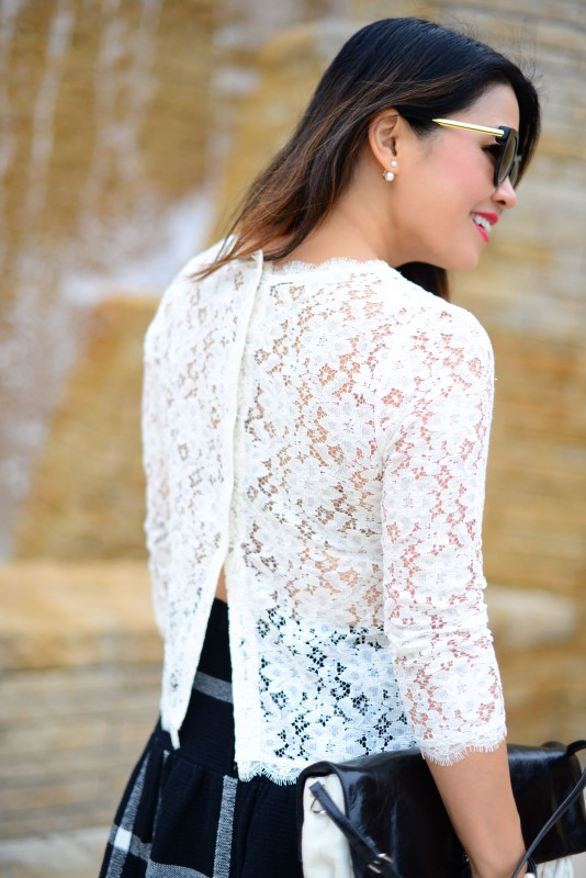Dolce Vita ivory lace long sleeve top