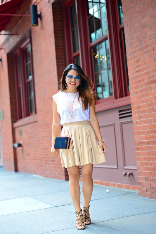 Neutral outfit white mesh top and suede skirt with leopard sandals