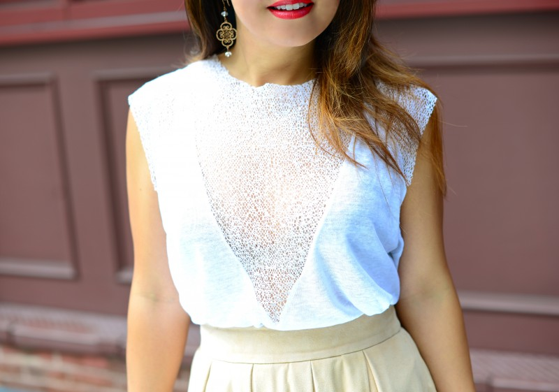 neutral outfit in white mesh top and blush suede skirt