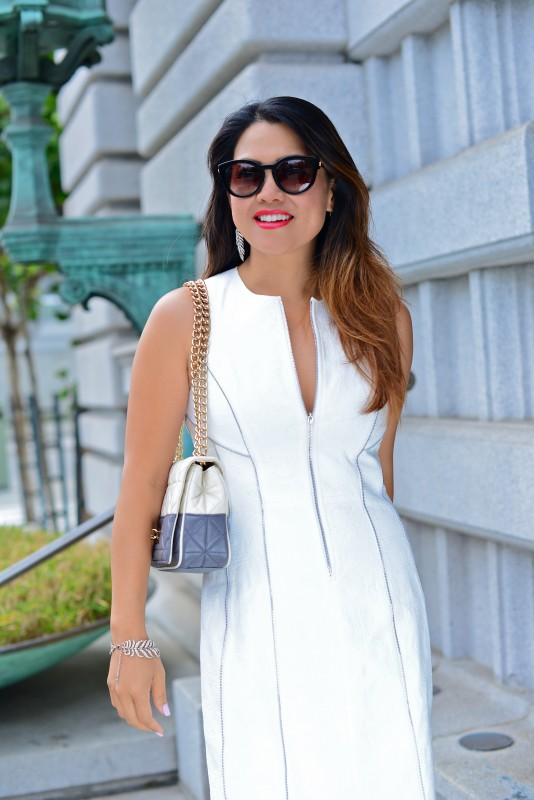 Classy look white sheath dress and kate spade shoulder bag