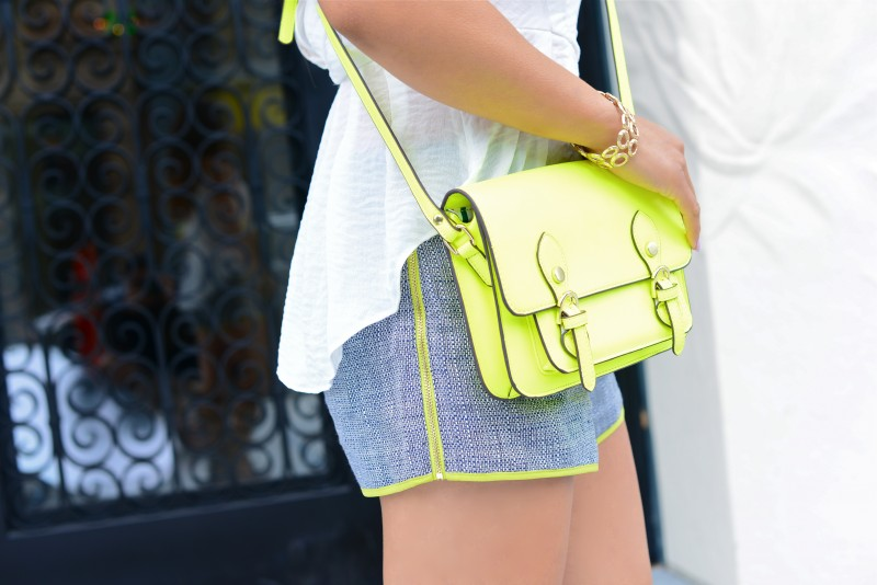 Shorts outfit peplum top tweed shorts neon crossbody bag