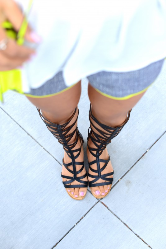 black gladiator knee high sandals