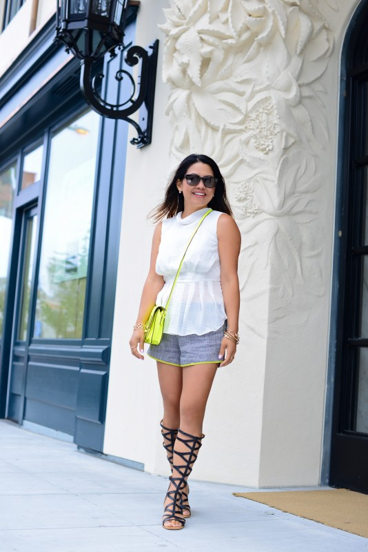 Shorts outfit peplum top tweed shorts and gladiator sandals