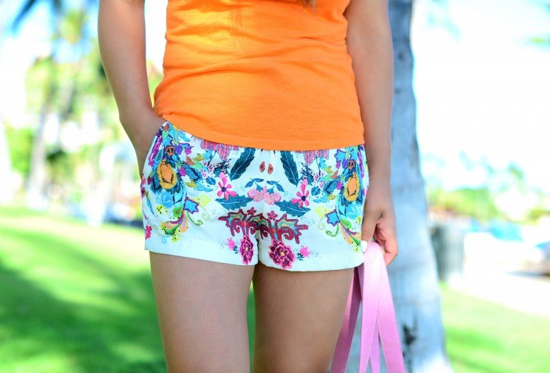 Floral shorts orange tank summer outfit