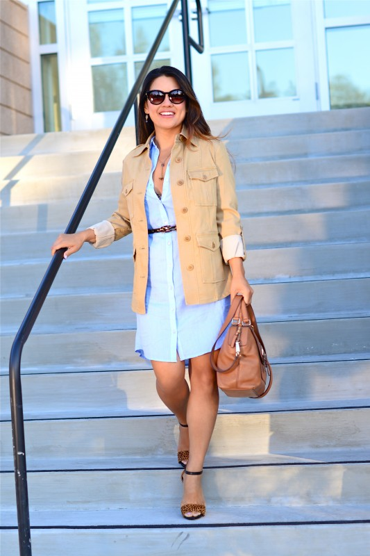 business casual khaki utility jacket chambray dress