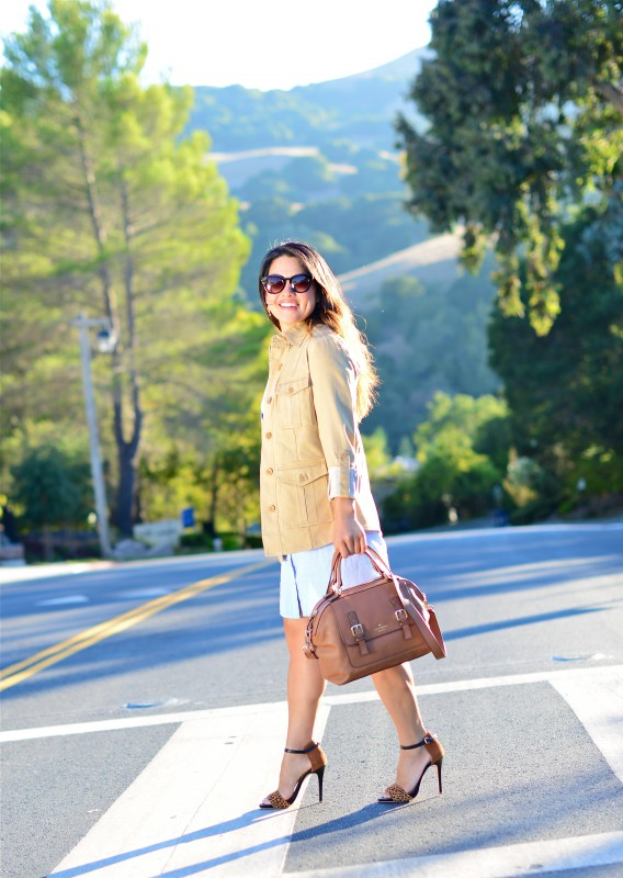 transitional outfit khaki utility jacket and leopard details