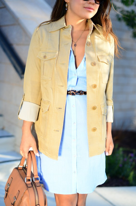 Business Casual Khaki utility shirt and chambray shirt dress