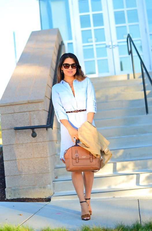 Chambray button down shirt dress transitional outfit