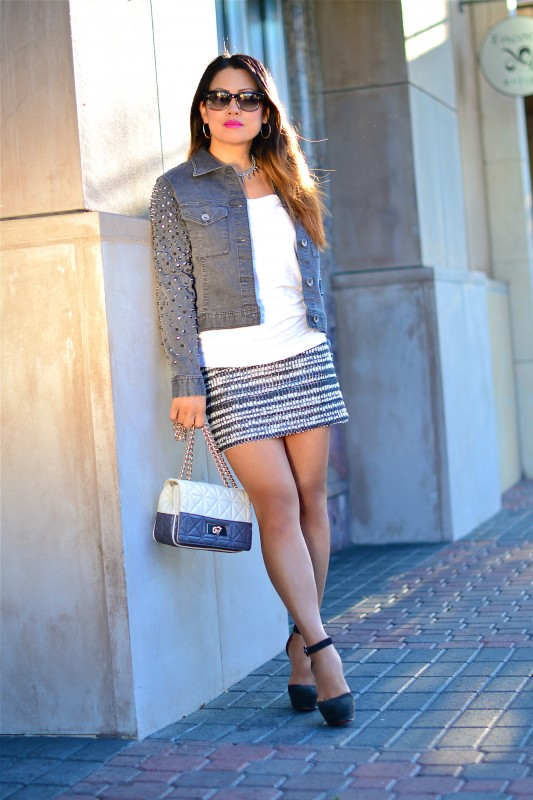 Edgy Tweed skirt grey denim jacket