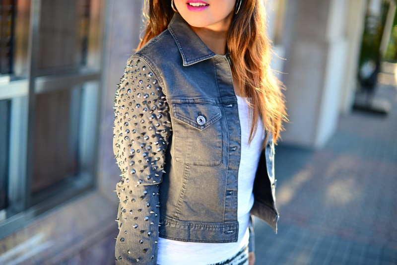 Studs spikes denim jacket grey