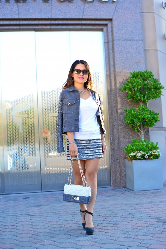 Edgy grey denim jacket tweed mini skirt