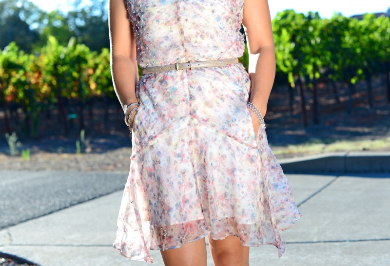 Sheer pastel print dress with pock
