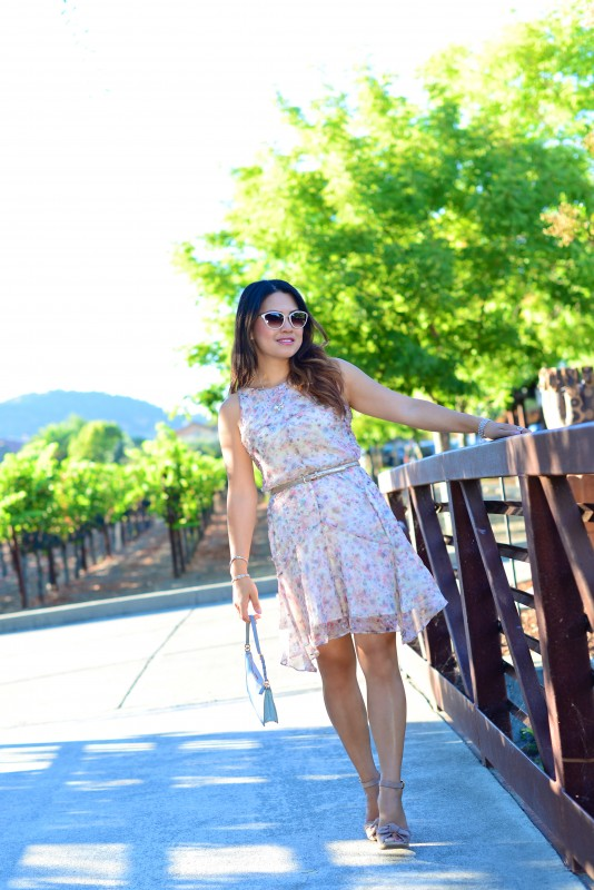 Wine tasting outfit flare summer dress and wedges