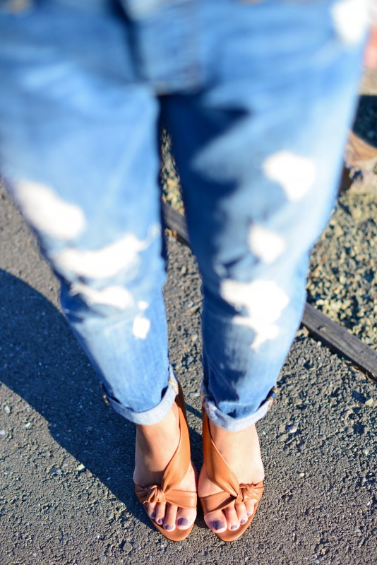 Boyfriend distressed jeans and nude heels