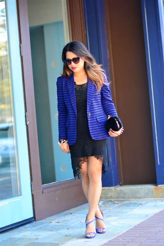 Black and cobalt outfit