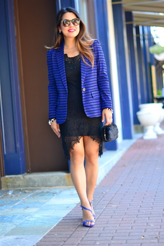 Black Dress And Blue Blazer