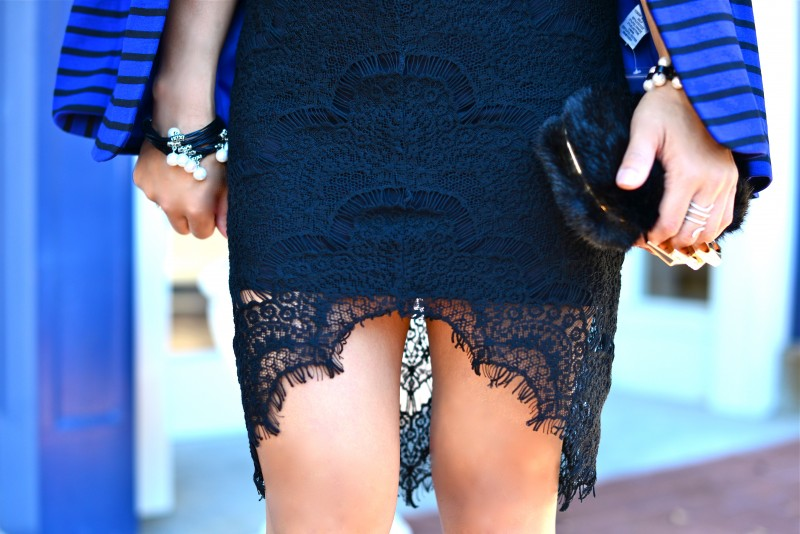 Lace high low dress and pearl bracelets