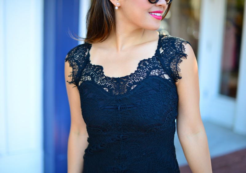 Lace cocktail dress cap sleeve