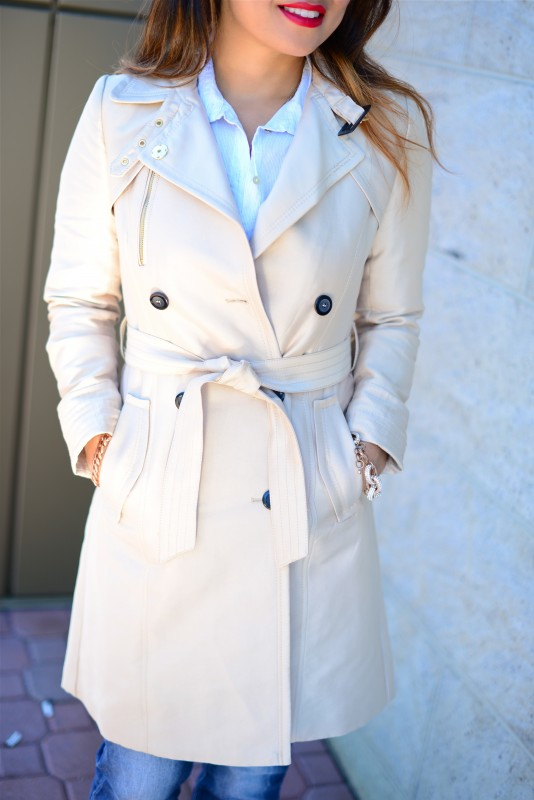 Classic khaki belted trench coat