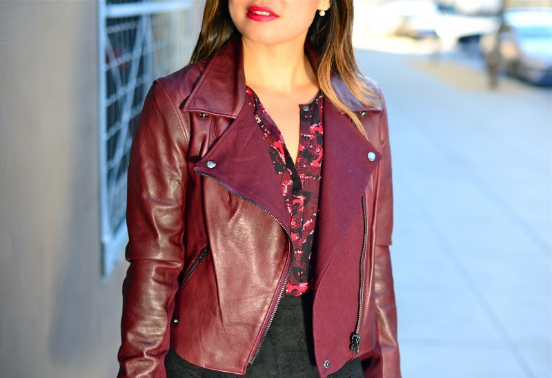 Burgundy leather jacket