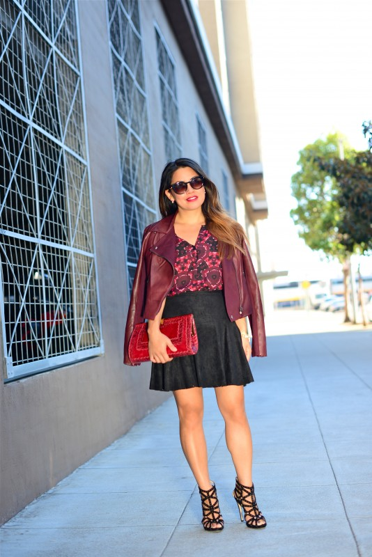 Caged booties burgundy jacket and mini skirt