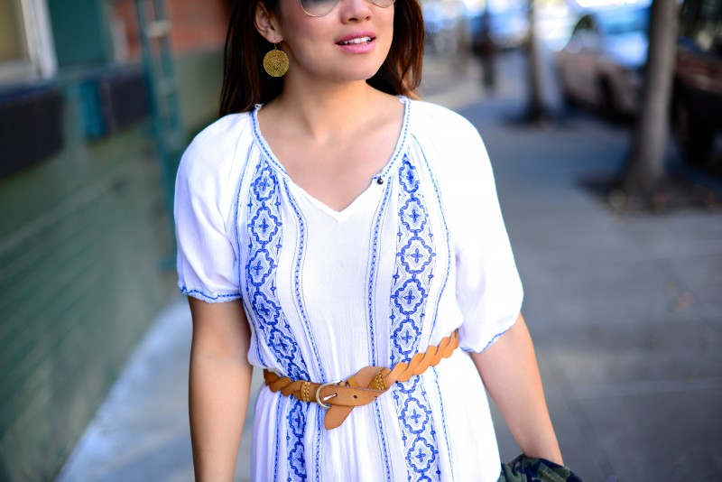 Summer white and blue dress