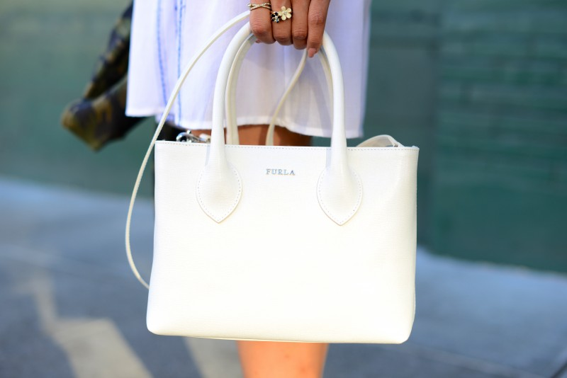 Furla white satchel and crossbody bag