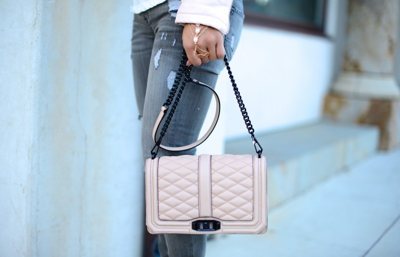 Pale pink cross body quilted bag