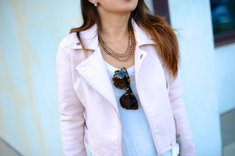 Pink leather jacket and Jacey Oliver Peoples sunglasses