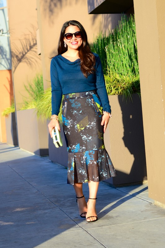 Floral peplum midi skirt and teal sweater