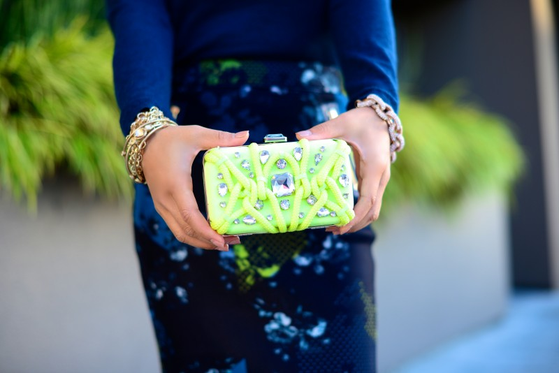 Beaded neon yellow clutch